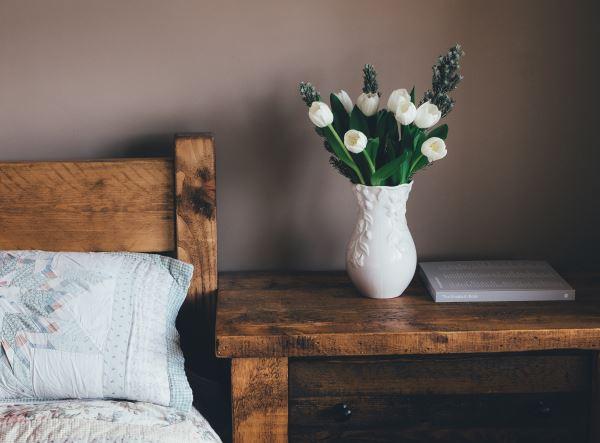 Dark timber in the bedroom
