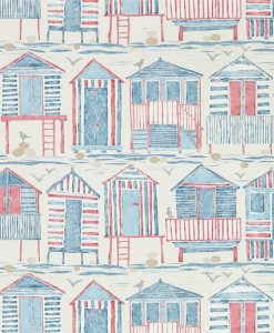 Beach Huts Wallpaper in Nautical