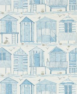 Beach Huts Wallpaper in Marine