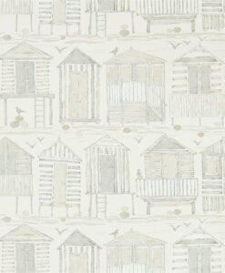 Beach Huts Wallpaper in Driftwood
