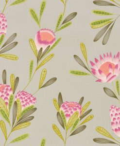 Cayo wallpaper in Cerise and Zest