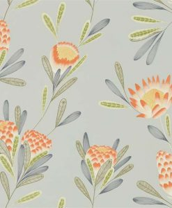 Cayo wallpaper in Coral & Silver