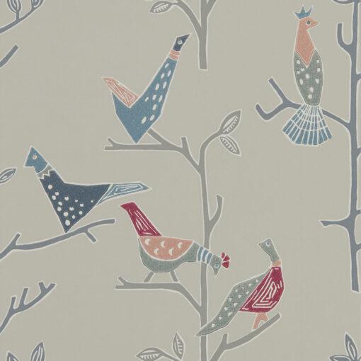 Passaro Wallpaper in Rose & Steel