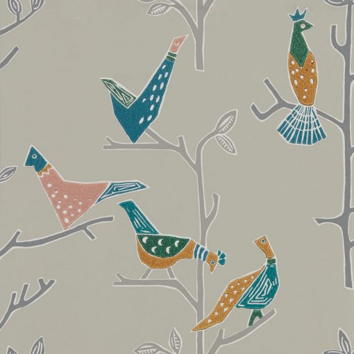 Passaro Wallpaper in Ginger and Teal