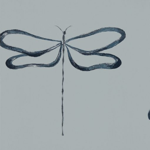 Japandi Dragonfly wallpaper in Liquorice