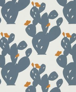 Opunita wallpaper in Charcoal and Paprika