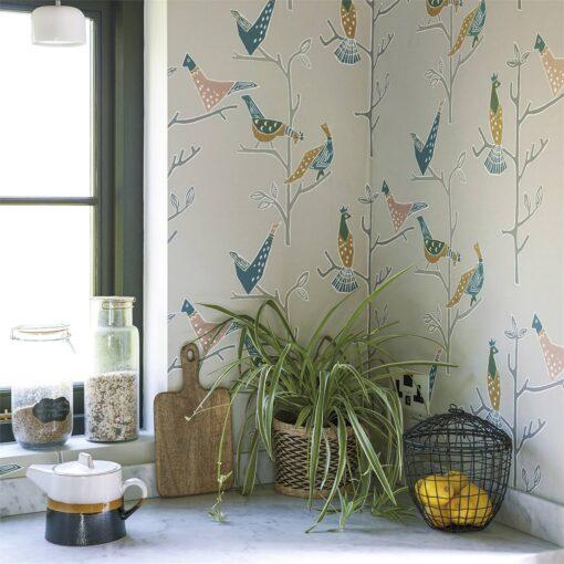assaro Wallpaper in Cinnamon and Slate