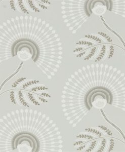 HPUT111912 Louella Wallpaper from the Paloma Collection in Linen and Silver