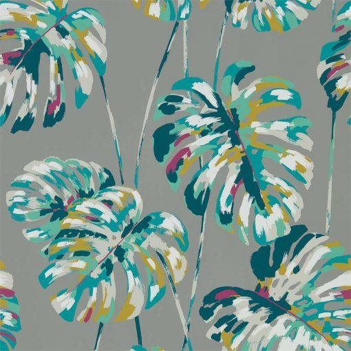 Kelapa wallpaper in Lagoon and Cerise