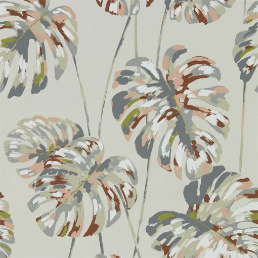Kelapa wallpaper in Charcoal and Blush