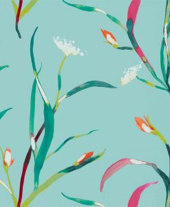 Sanoa Wallpaper from the Zapara Collection in Lagoon and Zest
