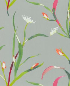 Sanoa Wallpaper from the Zapara Collection in Papaya and Silver