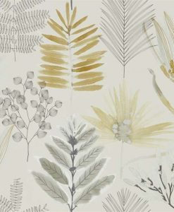 Yasuni Wallpaper from the Zapara Collection in Ochre and Linen