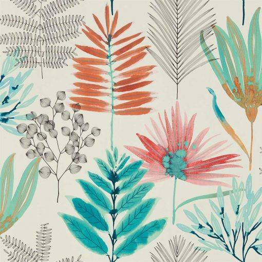 Yasuni Wallpaper from the Zapara Collection in Paprika and Kiwi