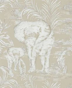 Kinabalu elephant wallpaper in Linen