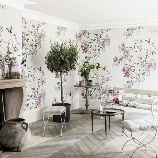 Magnolia & Blossom wallpaper panel b from Waterperry Wallpapers by Sanderson Home
