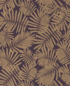 Espinillo Wallpaper from the Callista Collection by Harlequin Wallpaper in Aubergine & Gold