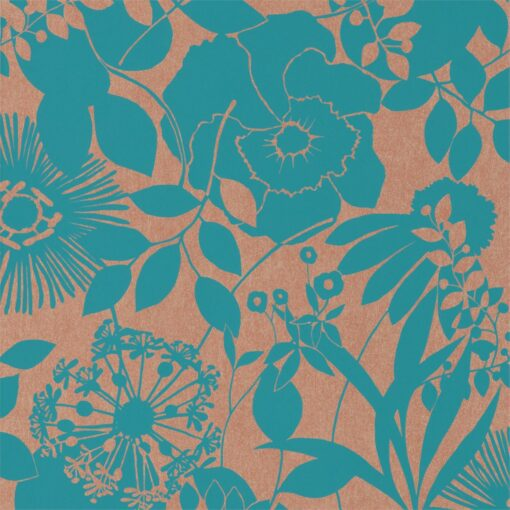 Coquette Wallpaper from the Standing Ovation Collection by Harlequin in Turquoise