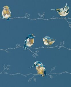 Persico Wallpaper from the Standing Ovation Collection by Harlequin in Turquoise & Navy