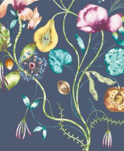Quintessence Wallpaper from the Standing Ovation Collection by Harlequin in Tangerine, Emerald & Navy