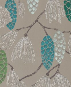 Epitome Wallpaper from the Standing Ovation Collection by Harlequin Wallpaper in Turquoise, Pea and Gilver