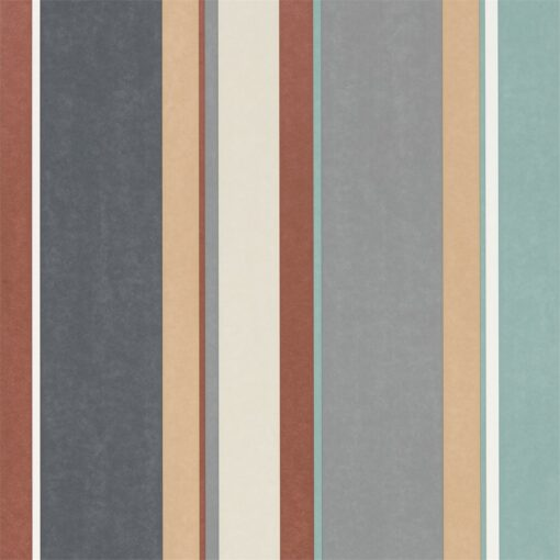 Bella Stripe Wallpaper from the Standing Ovation Collection by Harlequin in Sepia, Copper & Duck Egg