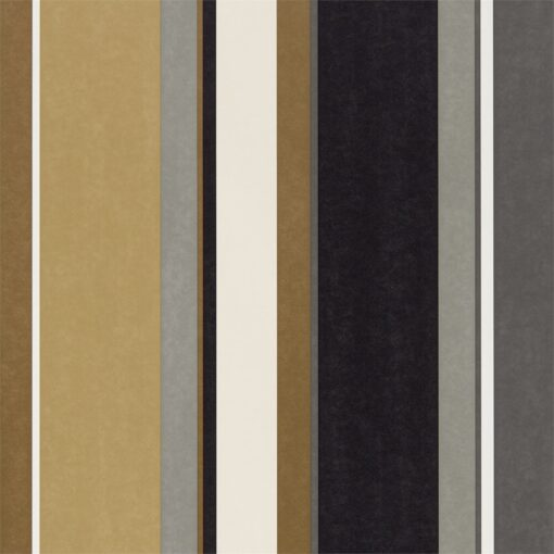 Bella Stripe Wallpaper from the Standing Ovation Collection by Harlequin in Ochre, Gold & Ebony