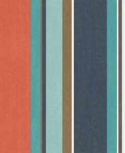 Bella Stripe Wallpaper from the Standing Ovation Collection by Harlequin in Coral, Gold & Turquoise