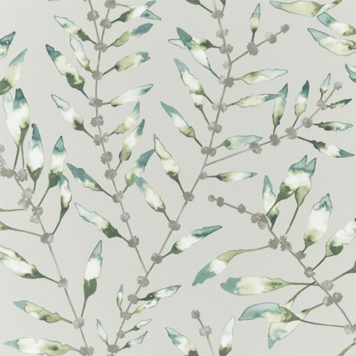 Chaconia Wallpaper from the Anthozoa Collection in Emerald & Lime