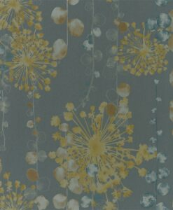 Moku Wallpaper from the Anthozoa Collection in Graphite & Mustard