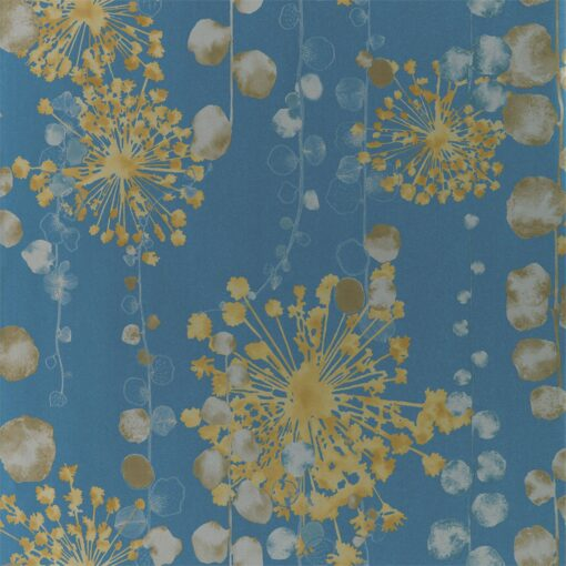 Moku Wallpaper from the Anthozoa Collection in Indigo & Pebble