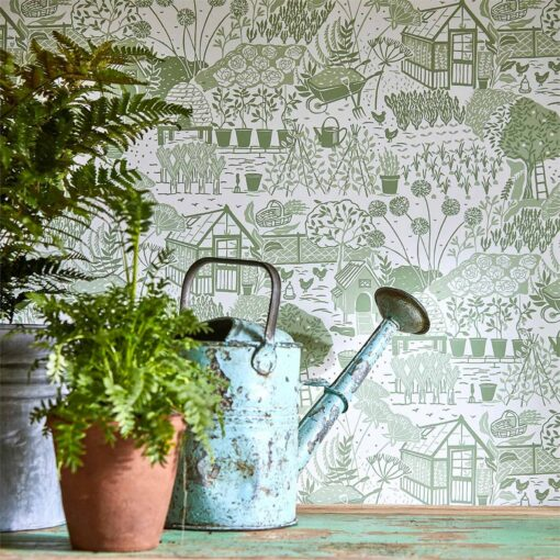 The Allotment Wallpaper from The Potting Room Collection