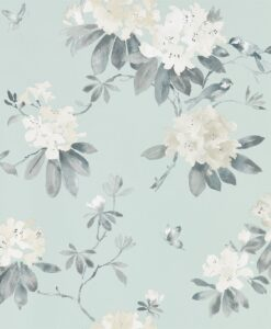 Rhodera Wallpaper from Waterperry Wallpapers in Aqua