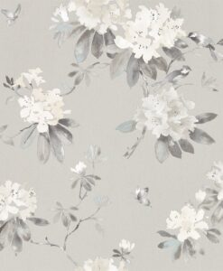 Rhodera Wallpaper from Waterperry Wallpapers in Silver