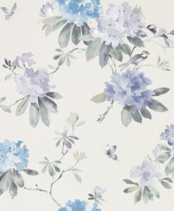 Rhodera Wallpaper from Waterperry Wallpapers in Amethyst & Charcoal