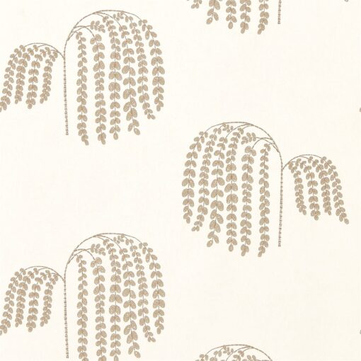 Bay Willow Wallpaper from Waterperry Wallpapers in Ivory & Gold