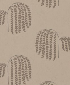 Bay Willow Wallpaper from Waterperry Wallpapers in Gold & Charcoal