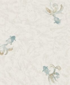 Fantail Wallpaper from Waterperry Wallpapers in Ivory & Flint