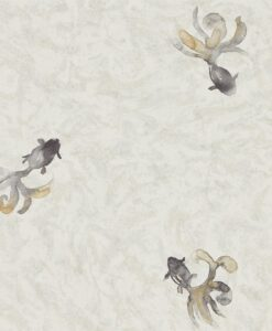 Fantail Wallpaper from Waterperry Wallpapers in Stone & Graphite