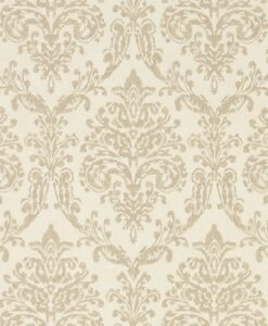 Riverside Damask Wallpaper from Waterperry Wallpapers in Cream & Gold