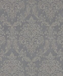 Riverside Damask Wallpaper from Waterperry Wallpapers in Steel & Silver
