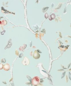 Fruit Aviary wallpaper from the Art of the Garden Collection by Sanderson Home in Duck Egg & Multi