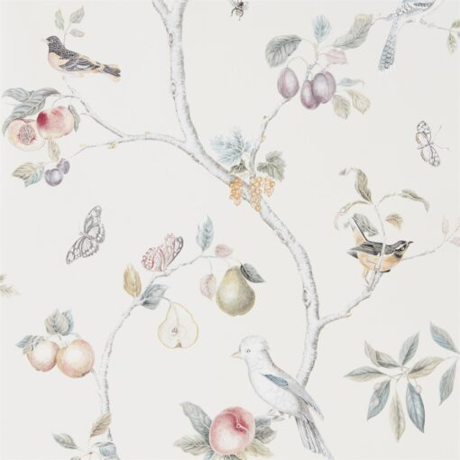 Fruit Aviary wallpaper from the Art of the Garden Collection by Sanderson Home in Cream and Multi