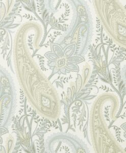Cashmere Paisley Wallpaper from the Art of the Garden Collection in Duck Egg & Opal
