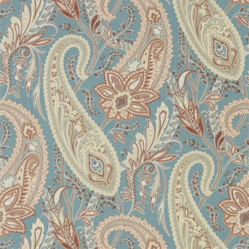 Cashmere Paisley Wallpaper from the Art of the Garden Collection in Teal & Spice