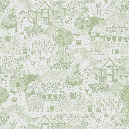 The Allotment Wallpaper from The Potting Room Collection in Fennel
