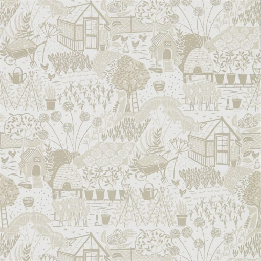 The Allotment Wallpaper from The Potting Room Collection in Linen