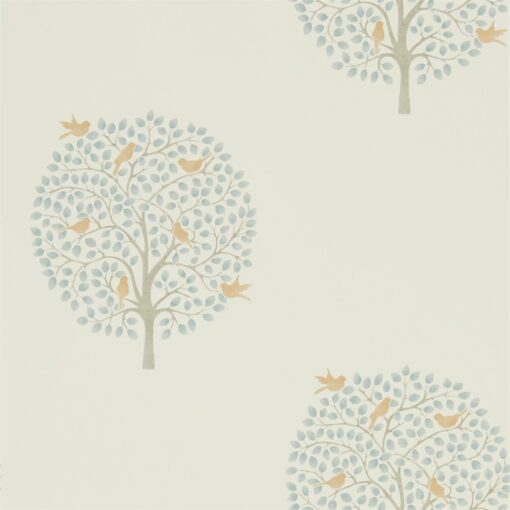 Bay Tree Wallpaper from The Potting Room Collection in Copper & Denim