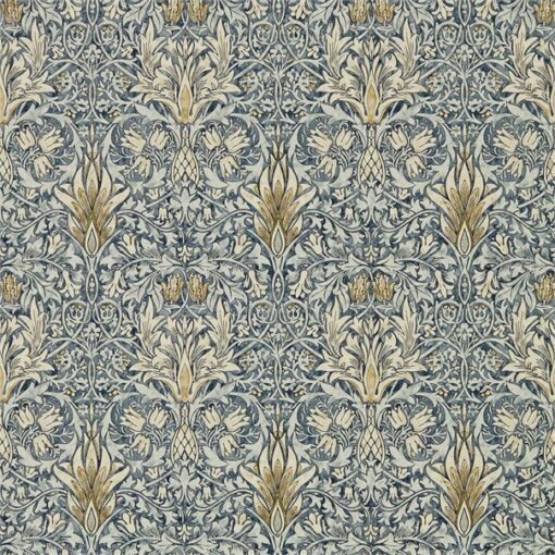 Snakeshead wallpaper from the Archives IV collection by Morris & Co. in Indigo & Cumin
