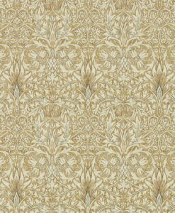 Snakeshead wallpaper from the Archives IV collection by Morris & Co. in Gold & Linen